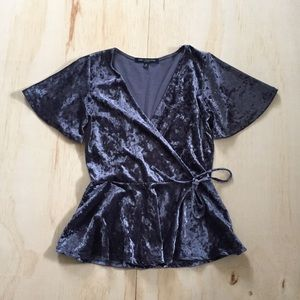 Crushed Velvet Wrap Top